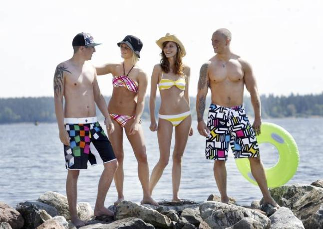 from left: shorts from Quicksilver, plaid bikini from Roxy, striped bikini from H&M, shorts from Quicksilver