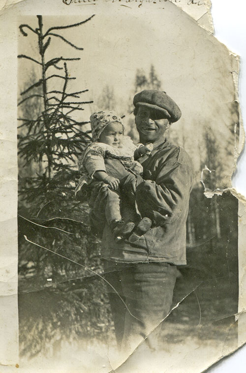 this is my great grandfather Herman, holding my grandma in his arms. Herman was a forest worker.