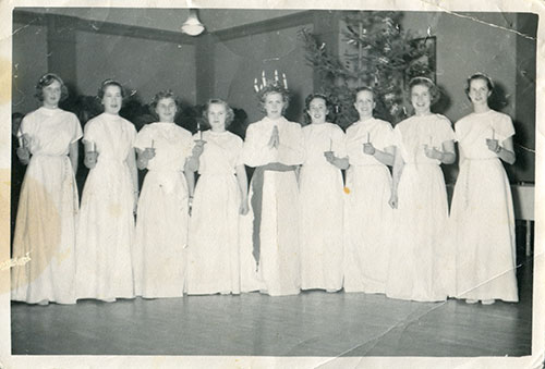 grandma celebrating lucia. third one from the left